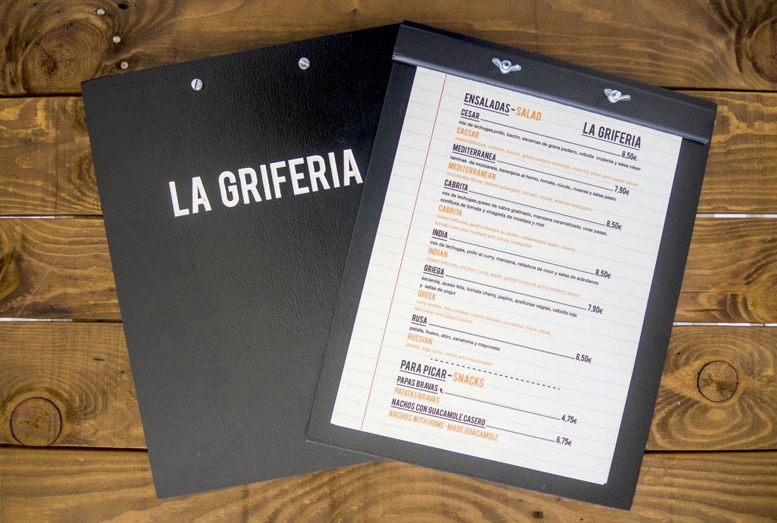 diseño cartas restaurante la griferia
