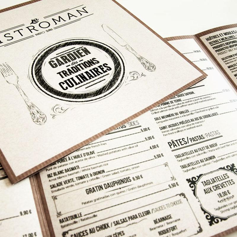 Diseño carta de resstaurante